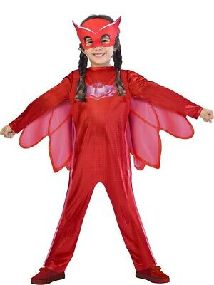 £13.99 • Buy Boys Girls Classic PJ Masks Red Owlette TV Fancy Dress Costume Outfit 3-4 Yrs