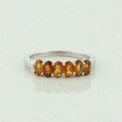 £39.04 • Buy Sterling Silver Madeira Citrine Band Ring Size 8