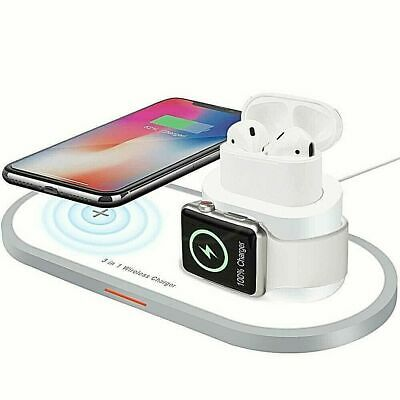 AU47.99 • Buy 3 In 1 QI Wireless Charger Dock For Apple Watch IPhone 13 12 11 Pro Max Airpod