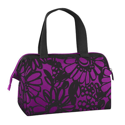 AU25.16 • Buy THERMOS Fashion 6 Can Mini Insulated Lunch Duffle Cooler Bag Black/Purple Flower