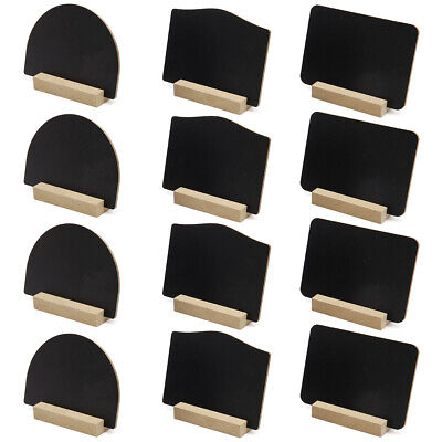 12 Mini Tabletop Chalkboard Sign With Vintage Wood Base Stand Wedding Cafe Board • 9.59£