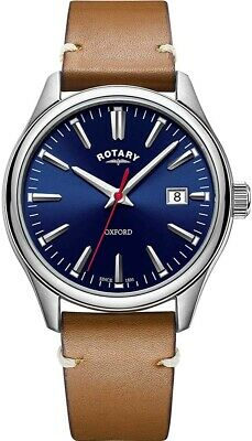 £99.99 • Buy Rotary Gents Oxford Watch With Tan Leather Strap And Blue Dial GS05092/53