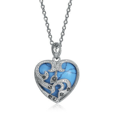 £4.72 • Buy Brighton INDIE CONCHO NWT Reversible Silver Turquoise Heart Pendant Necklace