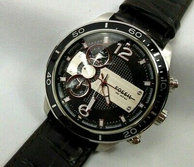 $ CDN9.37 • Buy Fossil Mens Stainless Steel & Leather Chronograph Watch CH-2585, 10 1/2   Rare!!