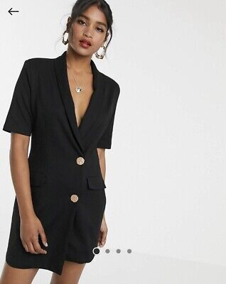AU23 • Buy NWT Asos Unique21 Tuxedo Gold Button Dress Black Sz 12