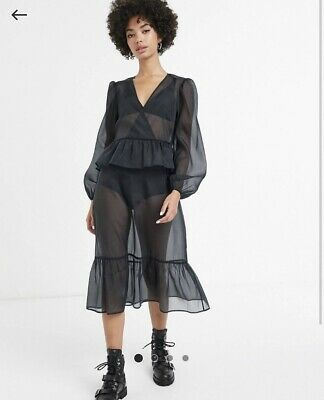 AU25 • Buy Nwot Asos Monki Puff Sleeve Midi Organza Dress Black Sz 10