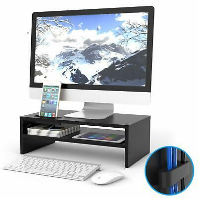 Wood Desk Monitor Stand Riser - With Smartphone Holder • 26.99£