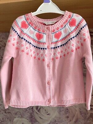 AU3.56 • Buy M&Co Dashing & Dainty Hearts Baby Girls Pink Heart Knitted Cardigan 18-24 M