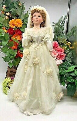 "$ CDN30.08 • Buy Vintage Porcelain Bride Doll 22"" W/ Stand Blonde Hair Blue Eyes Topp Collection"