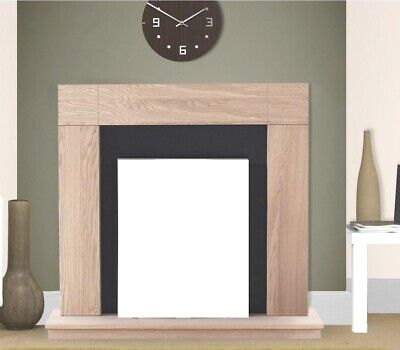 £173.99 • Buy Electric Fire Oak Black Wooden Fireplace Surround Hearth And Back Panel Bnib