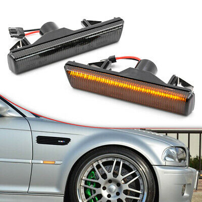 $23.39 • Buy Smoked Lens Led Fender Turn Signal Light For 01-06 BMW 3 Series E46 M3 Coupe 2pc