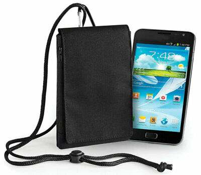 £6.95 • Buy Mobile Phone Fabric Neck Pouch Bag Universal - Small Black