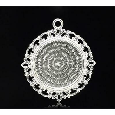 5 Silver Plated Round 25 Mm Pendant Setting Trays For Cabochons, Cameos Pictures • 2.95£