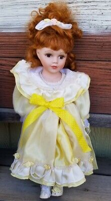 $ CDN15.67 • Buy  Porcelain China Doll In Original Yellow Dress W/pearls  16.5 Inch