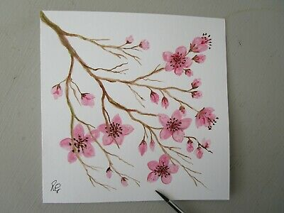 £2.90 • Buy Hand Painted Card Cherry Blossom Mothers Day Birthday Get Well Anniversary