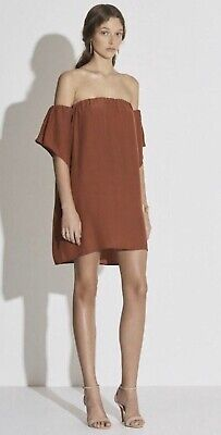 AU0.99 • Buy Sir The Label Rust Silk Clo Off The Shoulder Dress Size 0 RRP$299