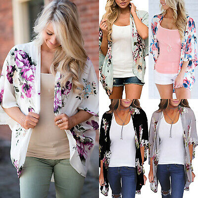 AU26.09 • Buy Womens Casual Floral Kimono Cardigan Waterfall Cover Up Jacket Baggy Blouse Tops