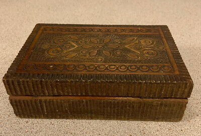 £9.95 • Buy Vintage Wooden Box With Intricate Hand Carved Detail