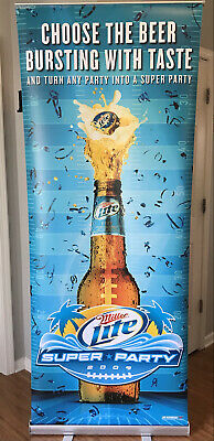 $74.99 • Buy Miller Lite COLLEGE BEER PARTY Retractable Sign 6ft Frat Red Flag MUST HAVE!!