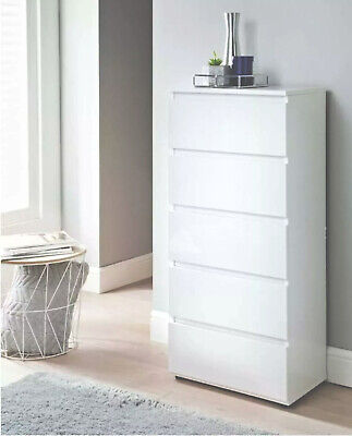 £98 • Buy NEW Tall High Gloss White Narrow Chest Of 5 Drawers Bedroom Furniture   UK
