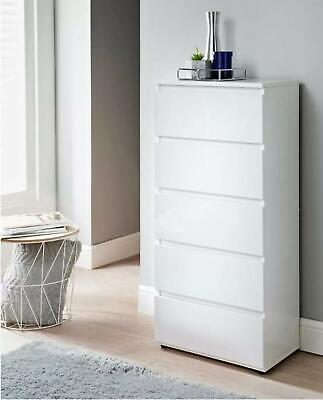 £98 • Buy NEW Tall High Gloss White - Narrow Chest Of 5 Drawers Bedroom Furniture   UK