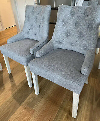 AU200 • Buy New! Assembled Grey Fabric Upholstered French Provincial Dining Chairs (2)