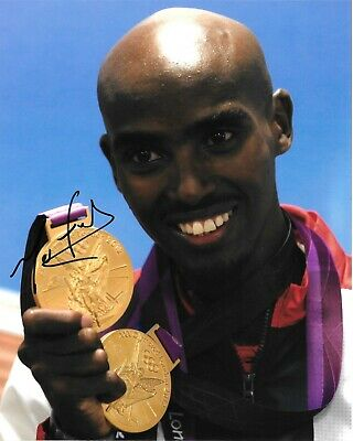 £99.99 • Buy Mo Farah Holding His 2 Gold Medals London Olympics 2012 Signed 10x8 Photo