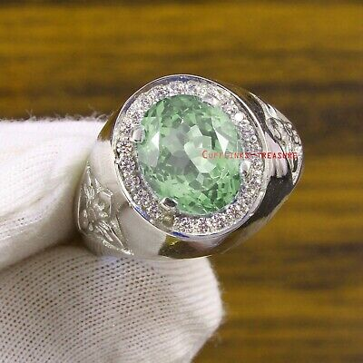 £75 • Buy Natural Green Amethyst & CZ Gemstones With 925 Sterling Silver Ring For Men's