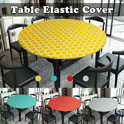 AU16.98 • Buy Elastic Fitted Tablecloth Wedding Party Dining Tableware Round Edged Table Cover