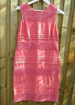 £15.99 • Buy Monsoon Coral Pink Linen Summer Dress Size UK 10 M Pleat Broiderie Anglaise Midi