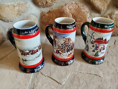 $ CDN43.74 • Buy Budweiser Christmas Beer Steins 1990, 1991, 1992 Collectors Series Ceramarte