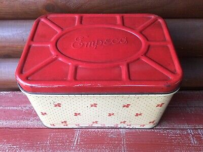 $34.99 • Buy Vintage Primitive Country Farmhouse Red Tan Empeco Metal Tin Bread Box Hinged