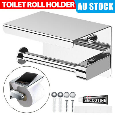 AU21.95 • Buy 304 Stainless Steel Toilet Roll Holder Paper With Shelf Bathroom Wall Mounted AU