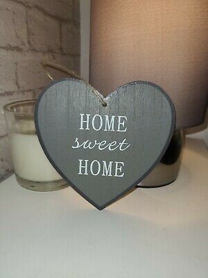 £3.80 • Buy Home Sweet Home Plaque Heart Hanging Heart Shabby Chic Grey & White