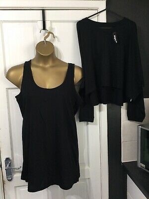 £6.99 • Buy SIMPLY BE Size 18 Two Piece Top Set Black New With Tags In Packet