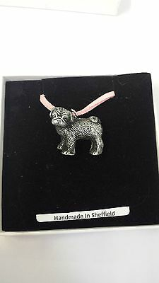 £6.95 • Buy Standing Pug Pewter Effect Animal 3D Pendant On Pink Cord Necklace Handmade