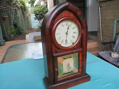 AU275 • Buy Antique NEW HAVEN ROUND GOTHIC CLOCK Very Rare 8 Day Time &strike Good Condition
