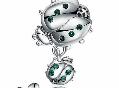 AU24.90 • Buy LADYBUG DOUBLE GREEN S925 Sterling Silver Charm By Charm Heaven NEW