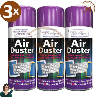 £6.99 • Buy 3 X New Compressed Air Duster Spray Can Cleans Protects Laptops Keyboards  200ml