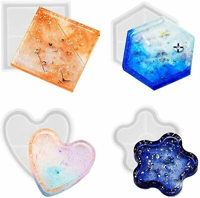 £3.75 • Buy 4PCS Silicone Resin Agate Coaster Casting DIY Mould
