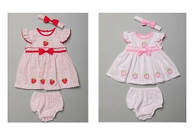 £13.45 • Buy Baby Girls Dress Set Strawberry Headband Bloomers Traditional Summer Outfit NEW