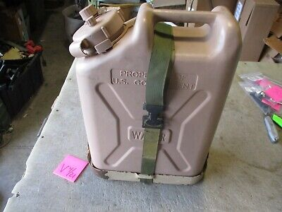 $89 • Buy Used Tan Plastic Water Can W/ Military Can Holder & Strap, M37 M38 Jeep C