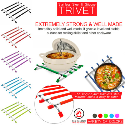 £4.95 • Buy Kitchen Trivet Worktop Saver Hot Pot Pan Stand Rack Silicon Stainless Steel