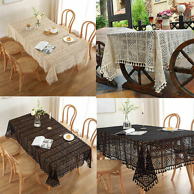 AU54.47 • Buy Vintage Hand Crochet Lace Tablecloth Dining Table Cloth Cover Wedding Home Decor