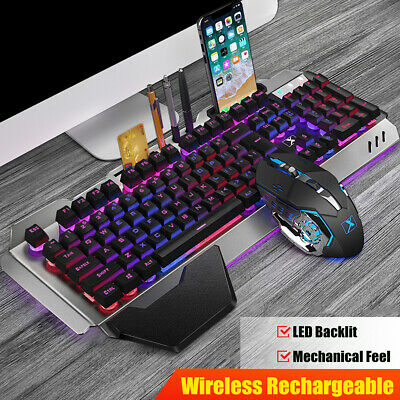 AU49.98 • Buy K680 Wireless Gaming Keyboard Mouse And Pad Set RGB LED Backlit For PC/Laptop