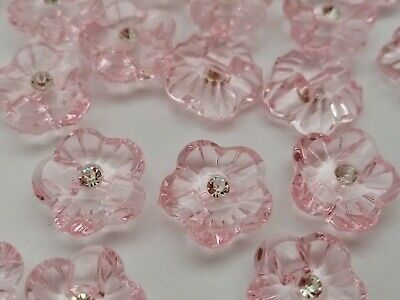 £2.95 • Buy 10 Pink Flower Rhinestone Buttons 15mm (5/8 ) Acrylic Flower Shaped Buttons
