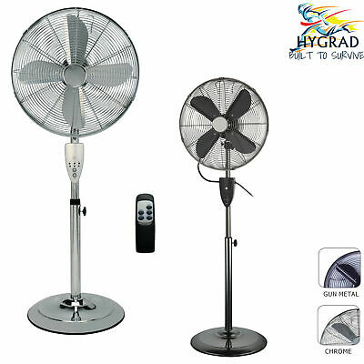 £49.90 • Buy HYGRAD 16  Air Cooling Pedestal Fans With Remote Control In Chrome & Gun Metal