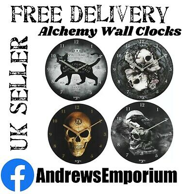£12.75 • Buy Alchemy Wooden Wall Clock 34cm Gothic Skull Cat Omega Poe's Raven Dioscuri