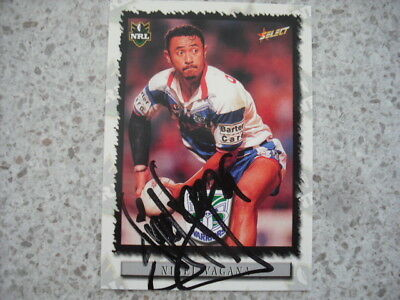 AU9.99 • Buy Nrl Rugby League Card Personally Signed & Coa 2001 Nigel Vagana Warriors