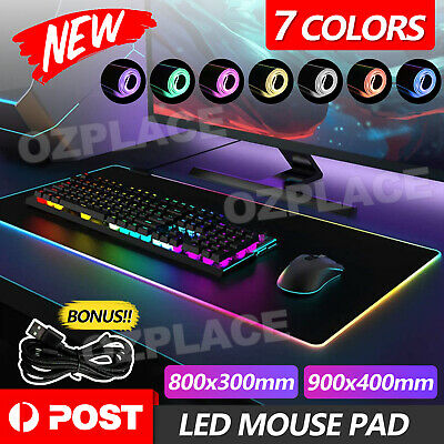 AU19.95 • Buy RGB LED Gaming Mouse Pad Desk Mat Extend Anti-slip Rubber Speed Mousepad New